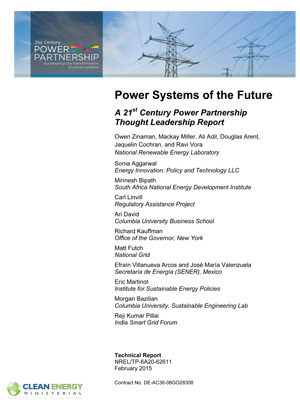 report cover: Systems of the Future: A 21st Century Power Partnership Thought Leadership Report