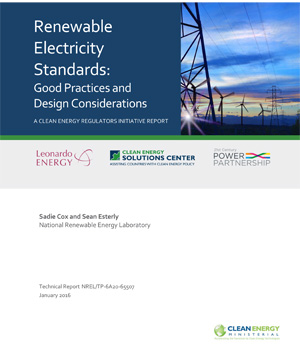 report cover: Renewable Electricity Standards: Good Practices and Design Considerations