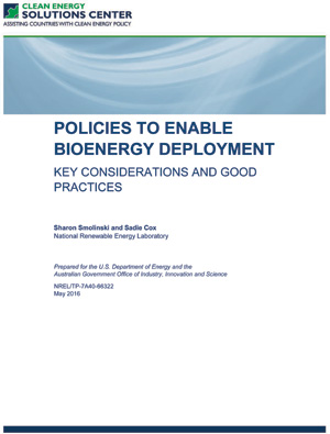 report cover: Policies to Enable Bioenergy Deployment: Key Considerations and Good Practices