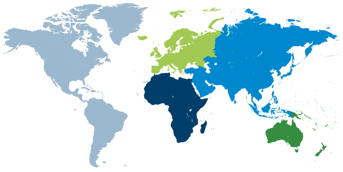 world map, color coded by region