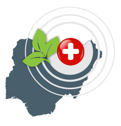 illustration of green leaf and universal first aid symbol over map outline of Nigeria
