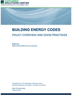 report cover: Building Energy Codes: Policy Overview and Good Practices