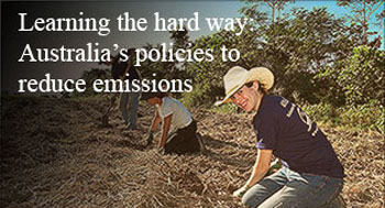photo of women in field, from cover of  report: Learning the Hard Way: Australian Policies to Reduce Carbon Emissions