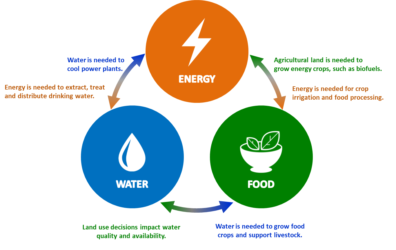 schematic illustrating integrated approaches to the energy-water-food nexus