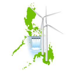 illustration of hydro-electric dam and wind turbines set against backgroudn of map of Philippines