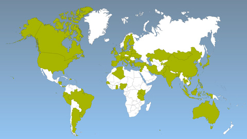 Map, showing countries with FIT policies highlighted