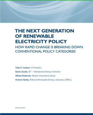 report cover: Next Generation of Renewable Electricity Policy