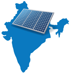 illustration of solar panel on map of India