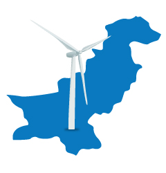 illustration of wind turbine on map of Pakistan