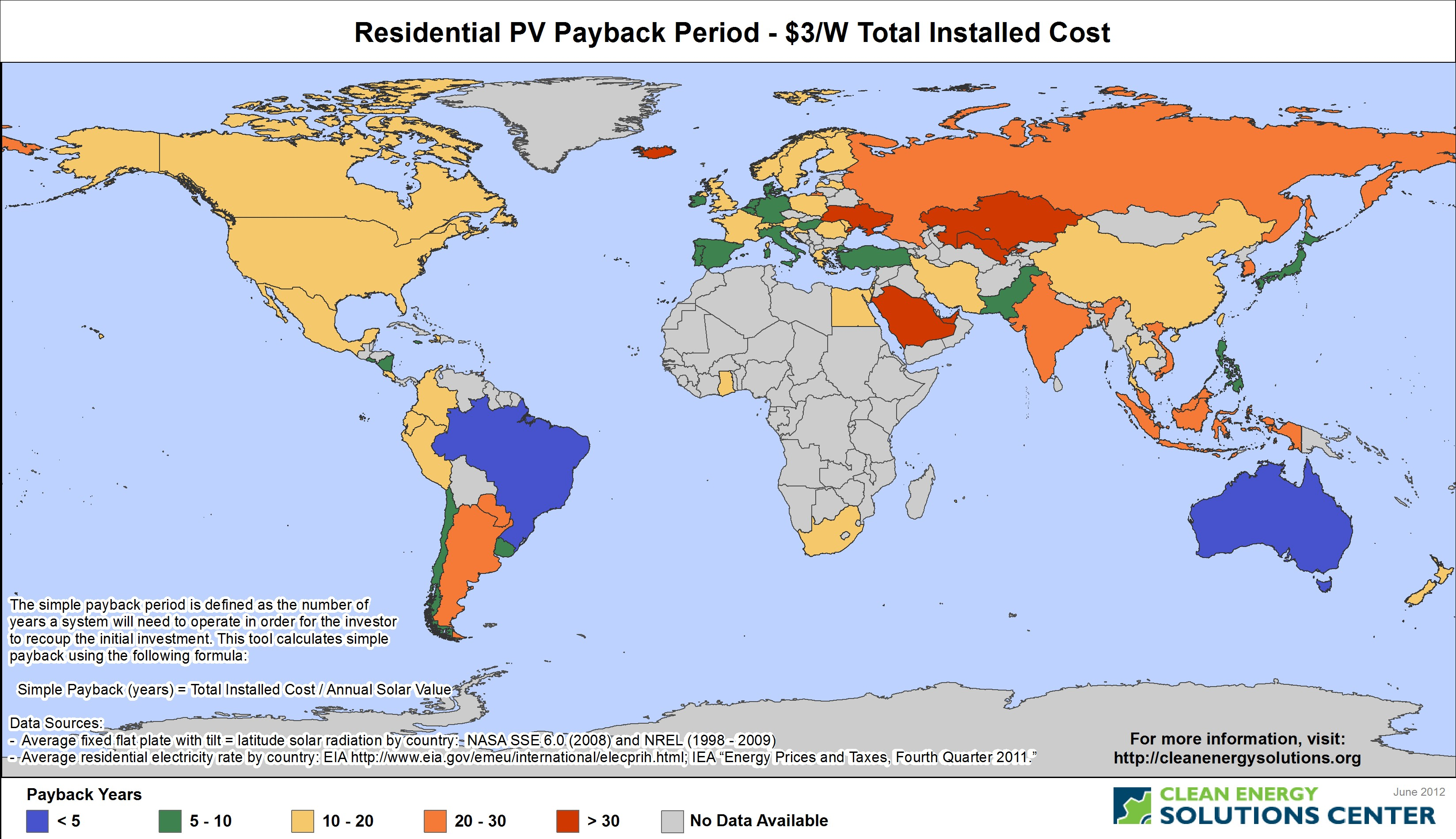 Example Tool Output Displaying Estimated PV Rooftop Potential by Country