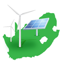 illustration of PV panel and wind turbines set against background of map of South Africa