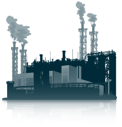 illustration of industrialized area with smokestacks