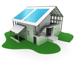 illustration showing PV panels on home