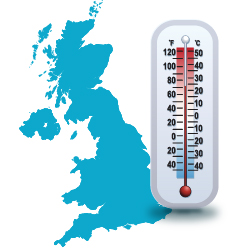 illustration showing thermometer in front of map of the United Kingdom